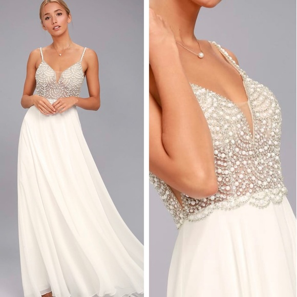 Lulu's Dresses & Skirts - Lulu's True Love White Beaded Rhinestone Dress